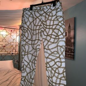 Michael Kors Gold Chain Print Hamilton Pants